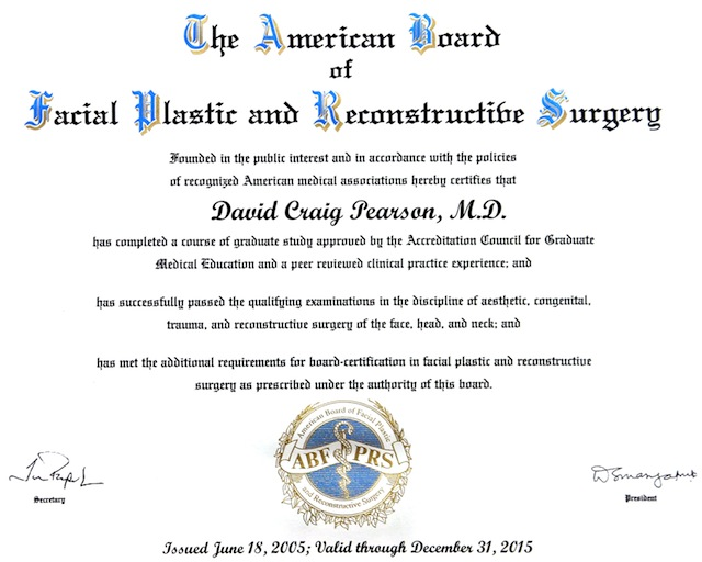 Think, Board of facial plastic surgery